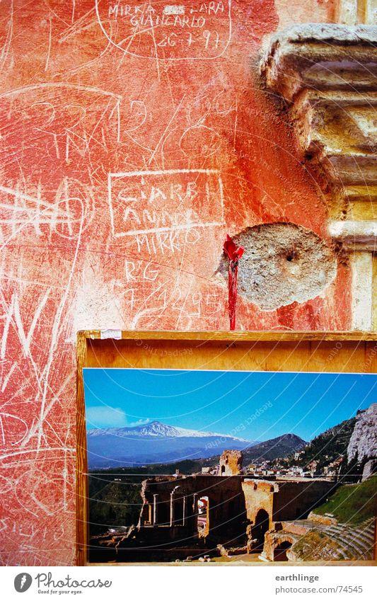 From Sicily with love alt Himmel blau rot Sommer Ferien & Urlaub & Reisen Farbe Wärme Italien Physik Postkarte Fernweh Furche antik Süden Vulkan