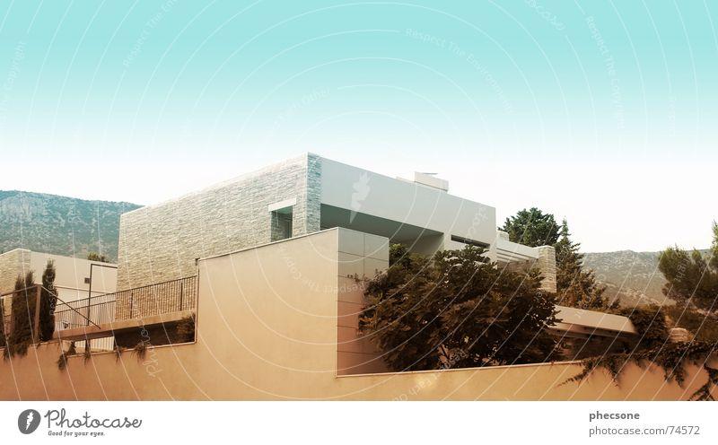 Mediterranean Home Himmel Pflanze Sommer Haus Wand Berge u. Gebirge Mauer Design Europa modern Schönes Wetter Geländer Würfel mediterran