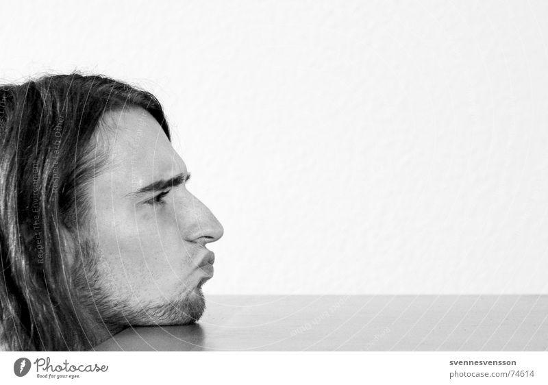Der Schrecken des Pittiplatsch Bart Silhouette Tischplatte Tapete Mensch Haare & Frisuren Profil Nase Mund Tischkante