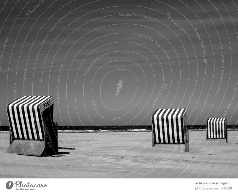 leben in s/w (2) Natur Wasser Himmel Meer Sommer Strand Ferien & Urlaub & Reisen ruhig See Sand Wellen Küste Umwelt Streifen Richtung Nordsee