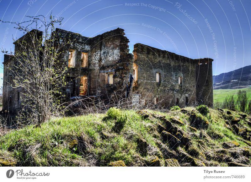 Hausruinen Ferien & Urlaub & Reisen Dorf Gebäude Architektur Stein alt Fotografie Struktur ruiniert Bild Aussicht urban farbenfroh HDR Spanien Europa Wand