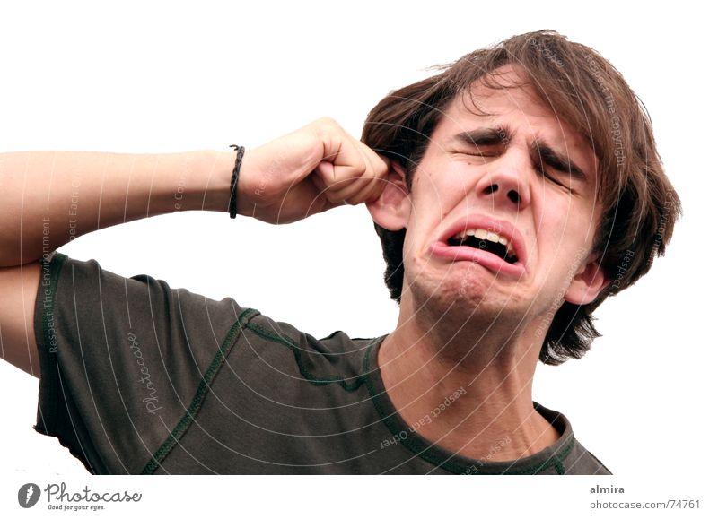 Der Mann der 1000 Gesichter Jugendliche lang Wut ohnmächtig Heulsuse Täuschung Porträt Hand Schmerz Ohr Schauspieler ziehen weinen schreien Verzerrung mime Kopf