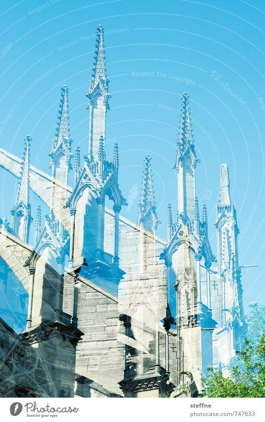 Nonotre Ddame Paris hoch Notre-Dame Doppelbelichtung Schönes Wetter Wolkenloser Himmel Farbfoto Außenaufnahme