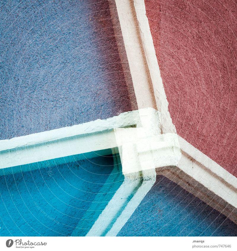 Kreuzweise | Französisch blau Farbe weiß rot Wand Mauer Stil außergewöhnlich Linie Fassade elegant Design modern Perspektive verrückt Streifen