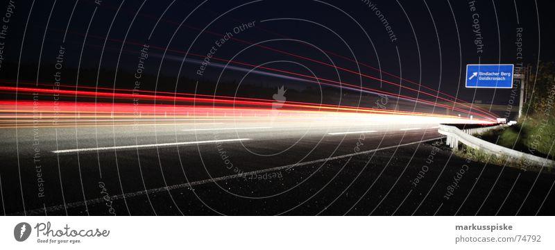 licht nacht II Dämmerung Nacht Langzeitbelichtung Belichtung Heckleuchte Bundesautobahn Abzweigung Dreieck PKW Lastwagen Straße Eisenbahn Autobahn Licht