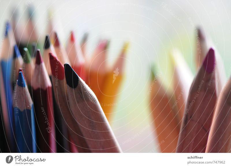 Gruppenlästereien Kunst blau mehrfarbig gelb grün violett orange rot Farbstift Schreibstift mehrere tratschen Zusammensein Zusammenhalt Bleistift Gruppenzwang