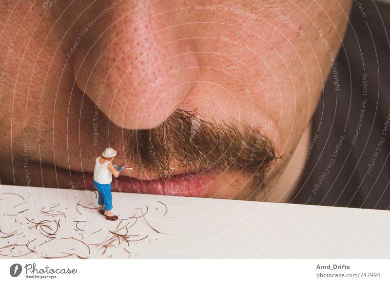 Die Schnurriarbeiten stagnieren. Mensch Mann schön Erwachsene Kopf maskulin Mund Nase Spielzeug Bart Körperpflege Friseur Gartenarbeit Ausdauer unordentlich