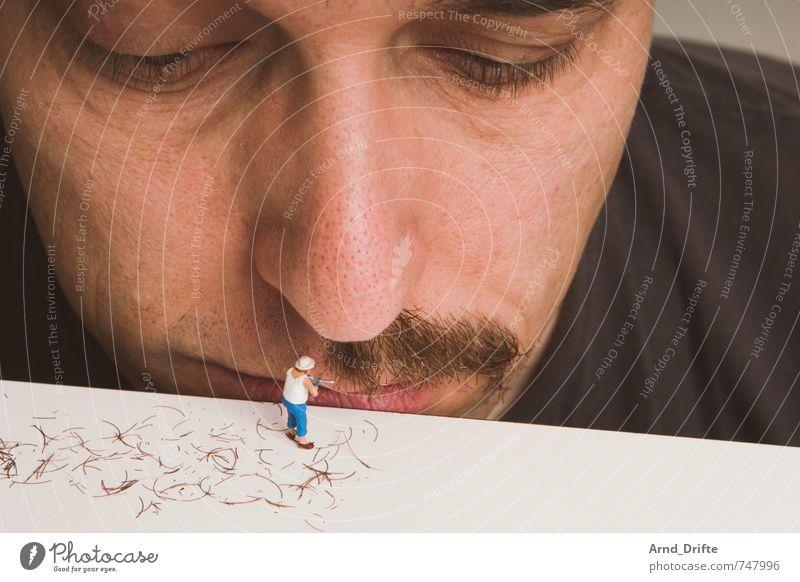 Der Schnurri muss immer noch ab! Mensch Mann Erwachsene Kopf maskulin beobachten Bart Körperpflege Körperpflegeutensilien Oberlippenbart Schere Gärtner