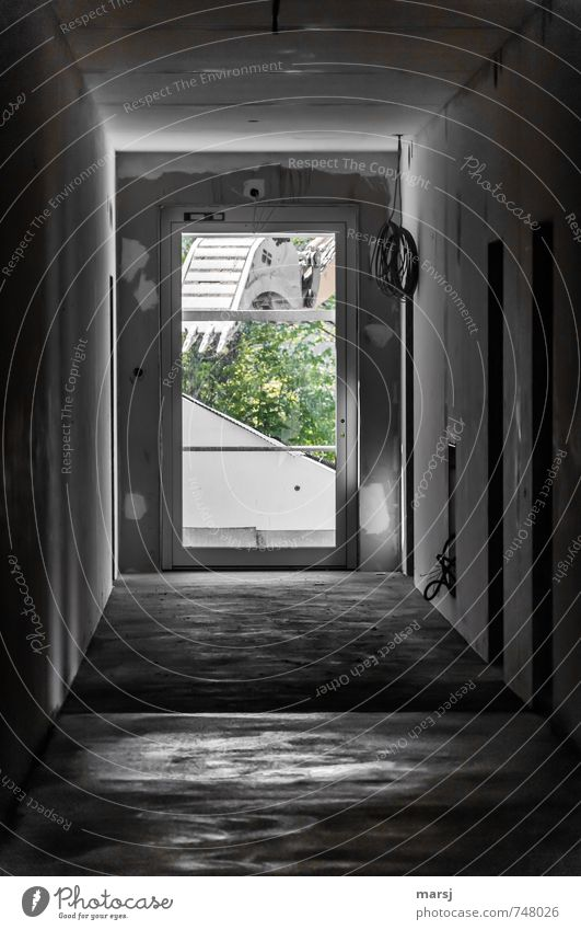 He, was soll das! Haus dunkel kalt Wand Bewegung Innenarchitektur Mauer grau Arbeit & Erwerbstätigkeit dreckig Raum Tür trist bedrohlich Baustelle Mut