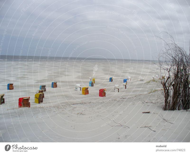 Strand auf Juist Ferne Sand Horizont Aussicht Stranddüne Strandkorb Badeurlaub