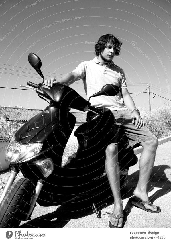 möchtegern James Dean Sonne Sommer Ferien & Urlaub & Reisen Motorrad Kleinmotorrad Portugal