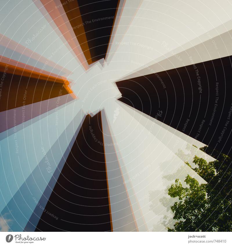 vibrieren im Quadrat Baum Berlin Perspektive hoch Ecke Turm planen Sehnsucht Wolkenloser Himmel Wachsamkeit lang Rost Stahl Kontrolle eckig