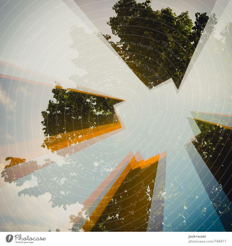 Quadrat im Baum Himmel Berlin Turm Stahl Rost Ecke ästhetisch eckig hoch Inspiration Surrealismus Irritation Doppelbelichtung Schemata offen stilistisch