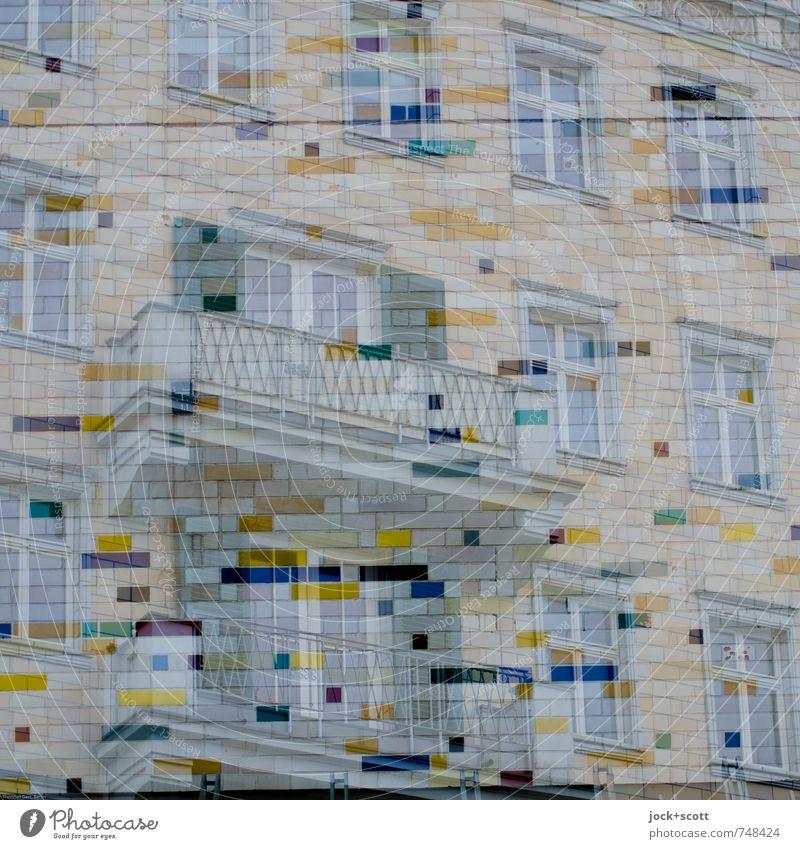 Kosmos Stadt Fenster Wand Mauer Zeit Treppe Häusliches Leben elegant Kraft ästhetisch retro Schutz historisch Balkon nah Fliesen u. Kacheln