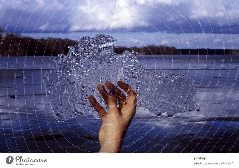datamoshing. Hand Finger Umwelt Natur Landschaft Urelemente Wasser Himmel Wolken Horizont Winter Eis Frost Wald Seeufer festhalten kalt blau Ehre Tapferkeit