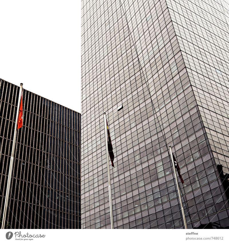 Expansion Stadt Stadtleben modern Hochhaus Fahne Stadtzentrum China überbevölkert Peking