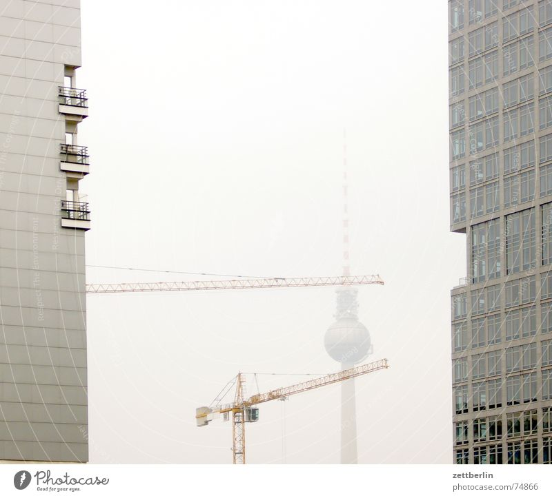 Fernsehturm Kran Hochhaus Fassade Baustelle Herbst Nebel Berliner Fernsehturm telespargel alex Mitte textbaustein
