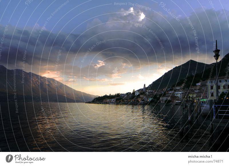 Abend am See Wasser Ferien & Urlaub & Reisen ruhig Haus Wolken Lampe Erholung Berge u. Gebirge Zufriedenheit Spaziergang Italien Gelassenheit Gardasee