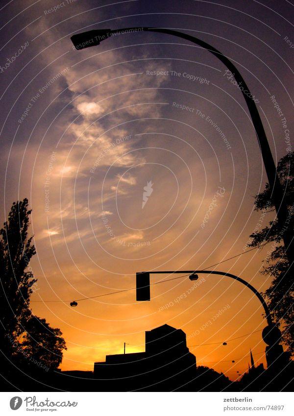 Sundown II Himmel Baum Sonne Wolken Laterne Skyline
