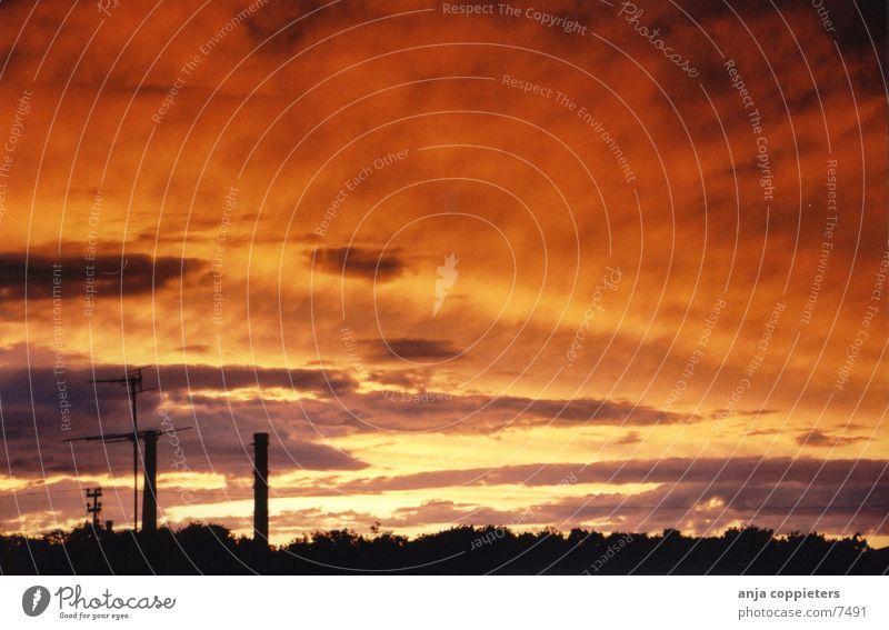OrangeSkies Luft Wolken Sommer Abend orange Himmel