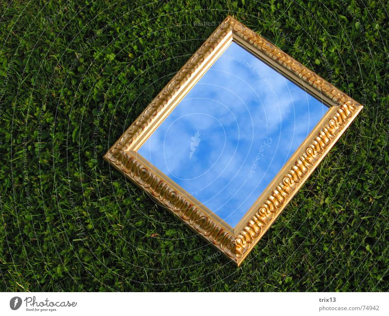 spiegelbild Spiegel Wiese Wolken Gras grün Reflexion & Spiegelung Rechteck Himmel gold Rahmen liegen Anschnitt