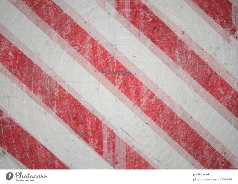 Achtung Grafik u. Illustration Verkehr Warnfarbe Beton Linie Streifen diagonal Hinweisschild dreckig gut Originalität seriös rot weiß Sicherheit achtsam Respekt