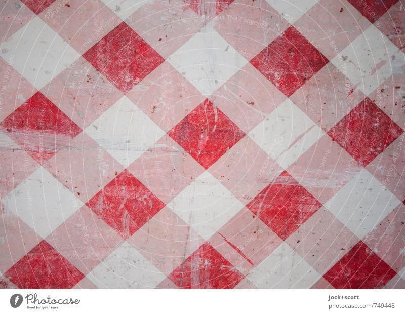 Achtung doppelt Grafik u. Illustration Beton Verkehrszeichen Streifen kariert Warnstreifen dreckig rot weiß Sicherheit Design Netzwerk Stil Symmetrie