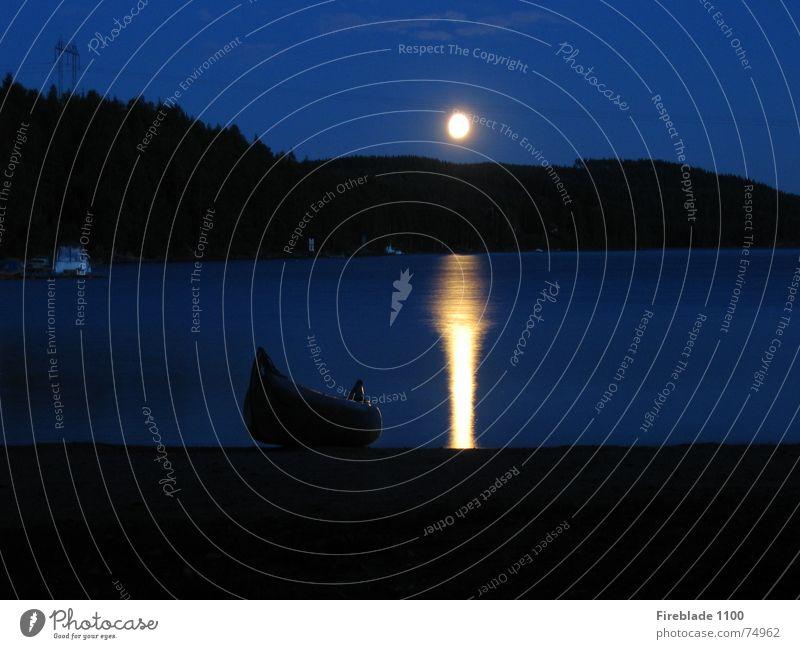 Mondaufgang Strand ruhig See Mond Kanu Schweden