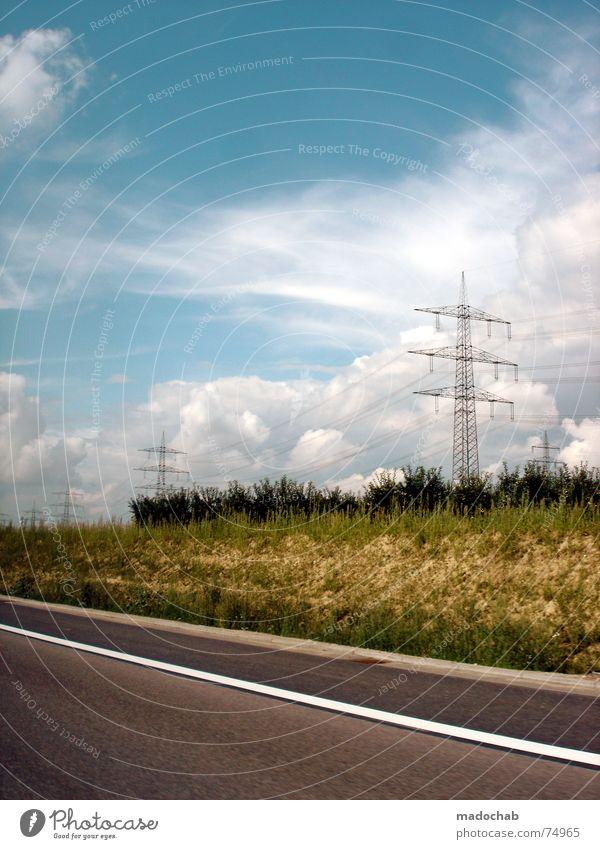 DRIVEBYSHOOTING Himmel Natur Ferien & Urlaub & Reisen blau grün schön weiß Baum Wolken Straße Wege & Pfade Gras Hintergrundbild grau Freiheit fliegen
