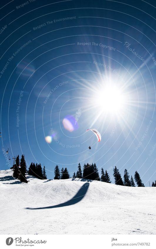 Ikarus? Himmel blau Erholung Landschaft ruhig Freude Winter Berge u. Gebirge Leben Schnee Freiheit fliegen Luft Zufriedenheit leuchten Luftverkehr