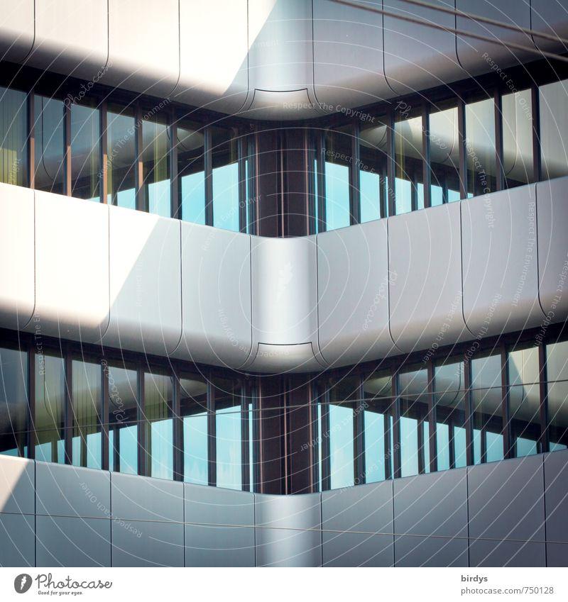 urbane Facetten Haus Architektur Bürogebäude Fassade Fenster Glas Metall ästhetisch modern grau türkis Design Kreativität Reichtum Symmetrie Stadt