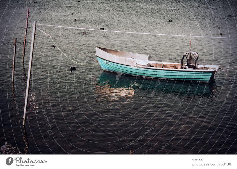Blaupause Freizeit & Hobby Ferien & Urlaub & Reisen Freiheit Umwelt Natur Wasser Wetter Schönes Wetter See Ruderboot schaukeln Gelassenheit geduldig ruhig