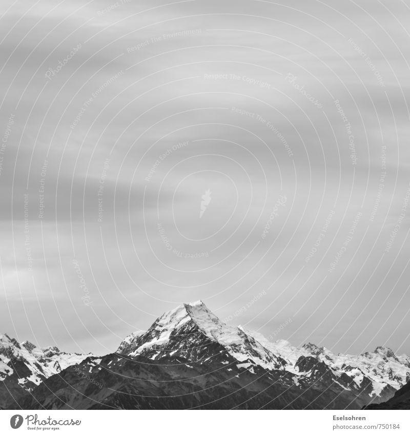 Aoraki Natur Landschaft Erde Luft Himmel Wolken Herbst Winter Schnee Alpen Berge u. Gebirge Gipfel Schneebedeckte Gipfel Gletscher bedrohlich eckig Ferne
