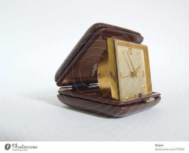 Zeitreise Uhr Ferien & Urlaub & Reisen Wecker unterwegs Leder antik alt pocket gold