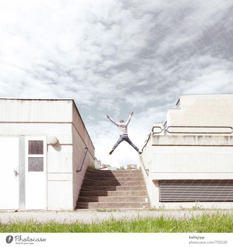 zum x-ten mal Mensch Stadt Haus springen Fassade Treppe Körper Erfolg Beton Balkon aufwärts Erfolgsaussicht
