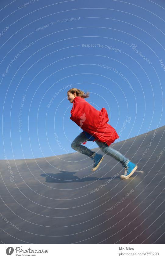 supergirl VI Lifestyle Spielen Halfpipe feminin Mädchen 1 Mensch 8-13 Jahre Kind Kindheit Wolkenloser Himmel Schönes Wetter Bauwerk Stoff blond langhaarig
