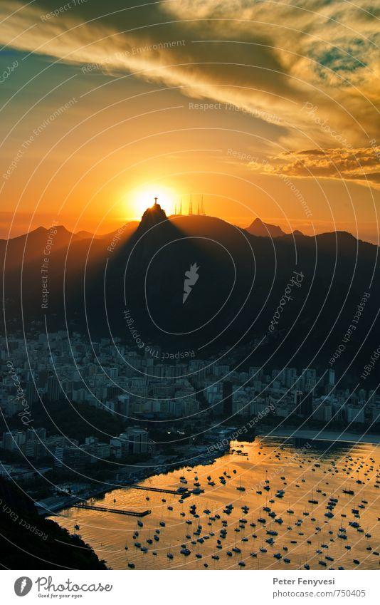 Rio de Janeiro 11 Natur Landschaft Wasser Himmel Wolken Hügel Gipfel Bucht See Brasilien Amerika Südamerika Stadt Stadtrand Menschenleer Sehenswürdigkeit
