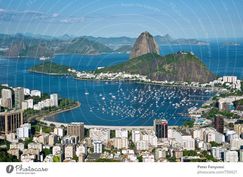 Rio de Janeiro 9 Meer Natur Landschaft Wasser Horizont Bucht Brasilien Amerika Südamerika Stadt Menschenleer Sehenswürdigkeit Wahrzeichen Jachthafen schön blau