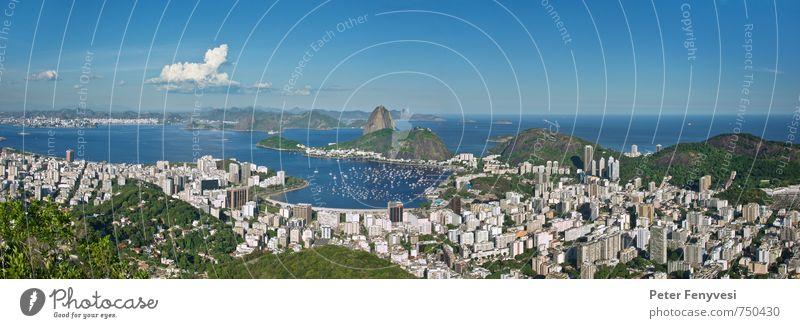 Rio de Janeiro 6 Landschaft Wasser Sommer Hügel Bucht Brasilien Amerika Südamerika Stadt Menschenleer Sehenswürdigkeit Wahrzeichen Jachthafen Blick blau