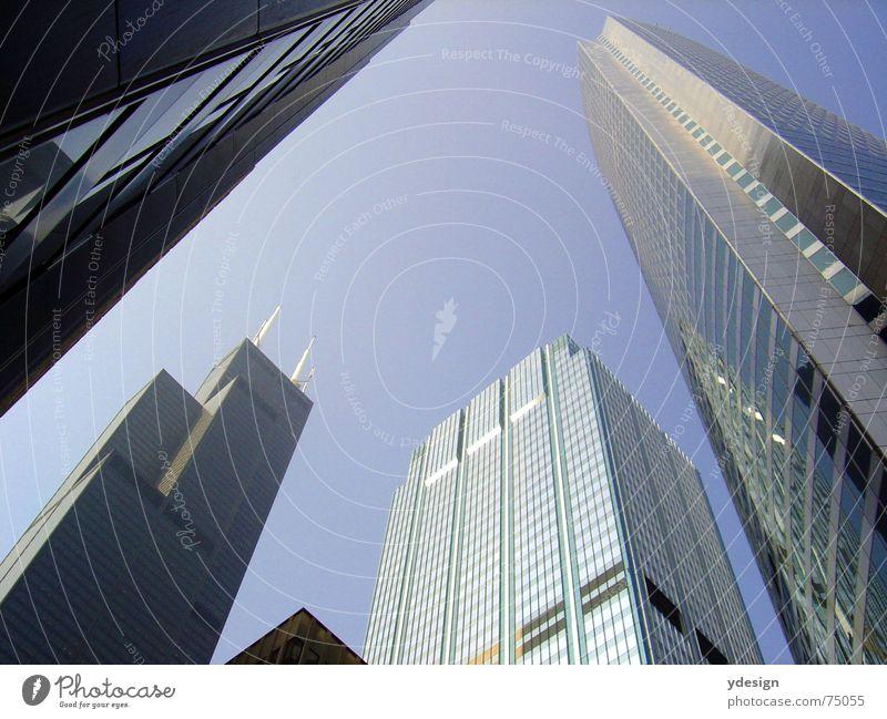 Chicago Haus Hochhaus Sears Tower Amerika Froschperspektive Himmel hochaus USA