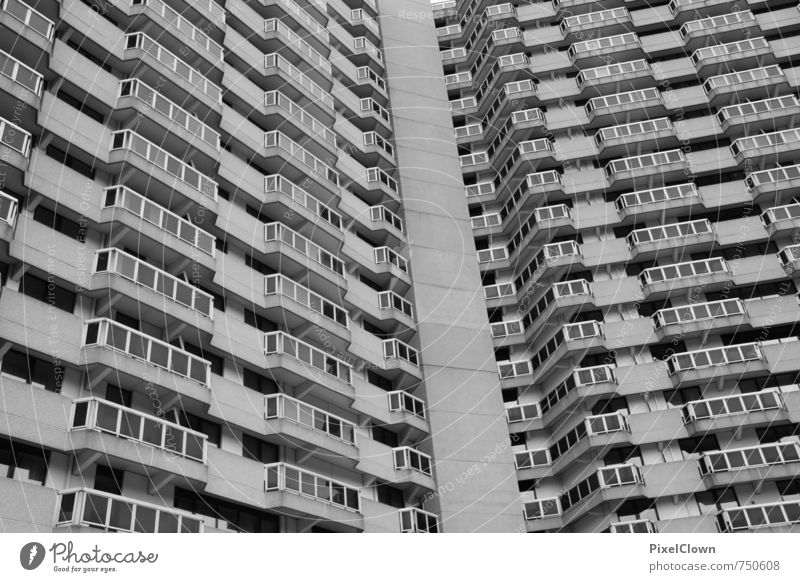 Schöner Wohnen Stadt Fenster Wand Architektur Mauer Gebäude grau Fassade Wohnung Häusliches Leben Büro Hochhaus Beton bedrohlich Baustelle