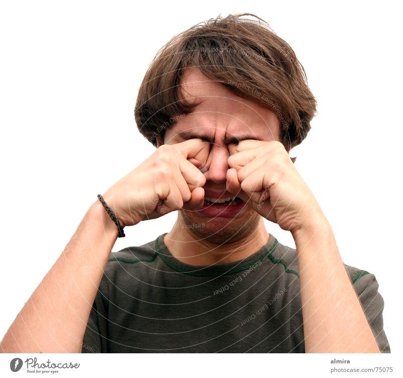 Tempos her Mann Jugendliche Porträt Hand Finger Faust Trauer Wut Enttäuschung Frustration vernachlässigen verloren Gesicht weinen Auge Reibung Tränen schluchzen