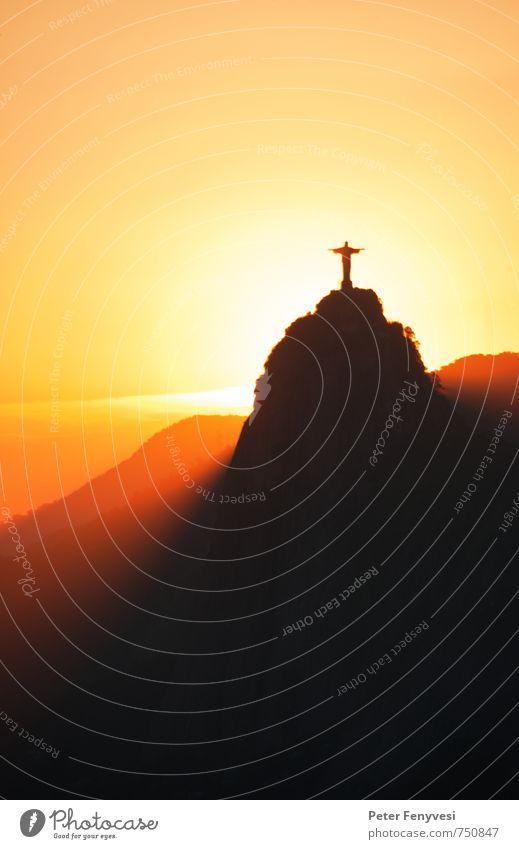 Rio de Janeiro 3 Himmel Natur Ferien & Urlaub & Reisen Stadt Sonne Landschaft ruhig Ferne Berge u. Gebirge Religion & Glaube Stimmung orange Tourismus