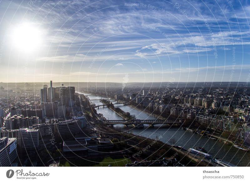 An der Seine in Paris entlang Himmel Ferien & Urlaub & Reisen Stadt Sonne Wolken Haus Ferne Architektur Gebäude Freiheit Horizont Lifestyle frei Tourismus