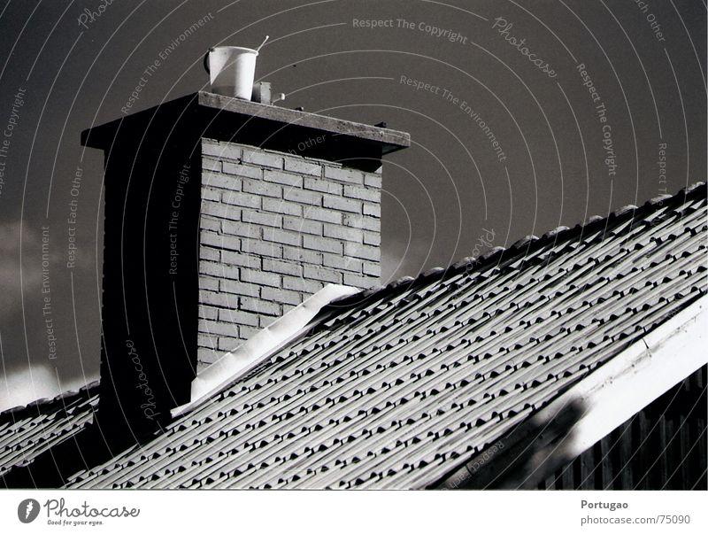 Eimer auf dem Dach Himmel Backstein grau schwarz weiß Dachziegel dachsims Schwarzweißfoto Außenaufnahme Menschenleer Schatten Sonnenlicht Sonnenstrahlen