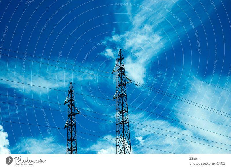 brothers II Elektrizität Strommast Wolken Himmel Leitung Verbindung Linie sky clouds blau blue electricity