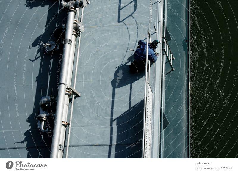 Schiffsmaler Wasserfahrzeug Vogelperspektive Fluss Anstreicher Rhein Schatten Reparatur