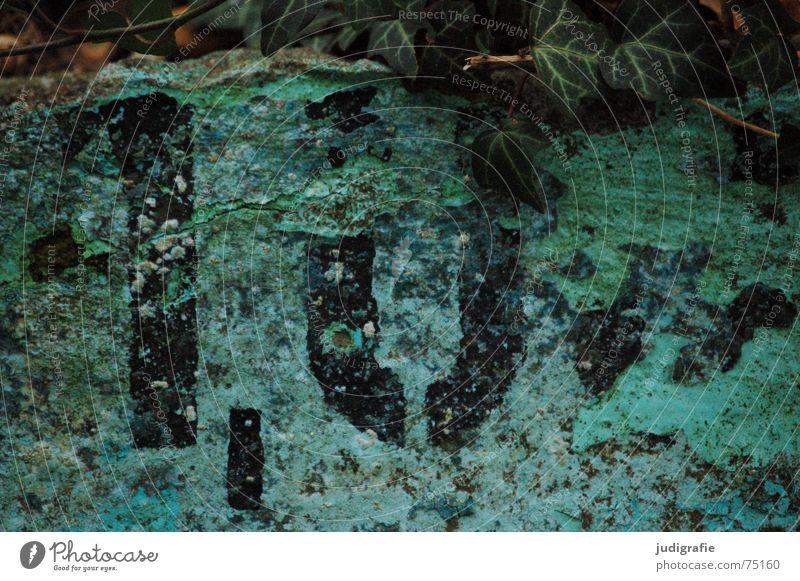 1,0 m Meter Komma leer Schwimmbad Efeu grün türkis schwarz Ziffern & Zahlen Typographie Schablonenschrift Herbst Verfall abblättern Grünspan verwittert Am Rand