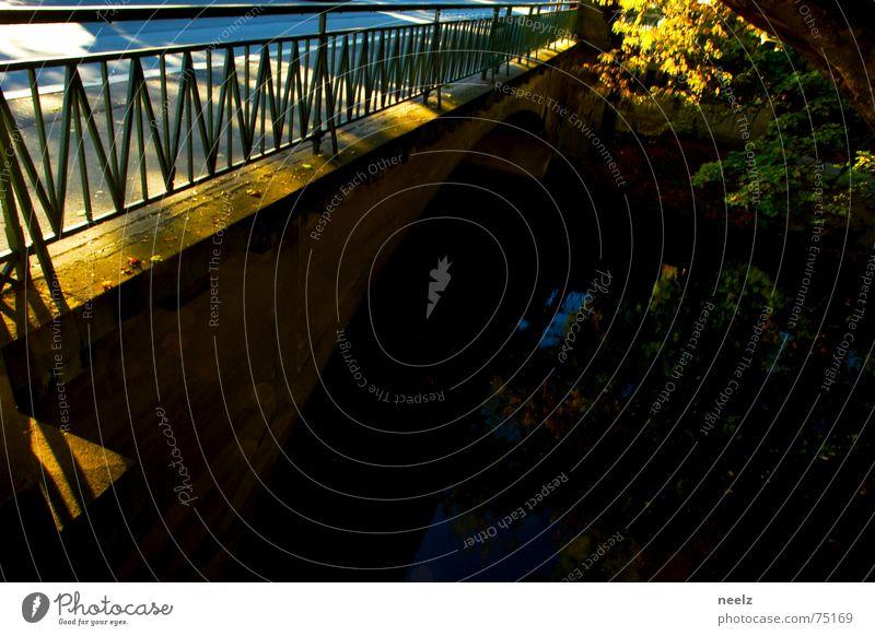 | Übergang | Wasser Sonne Blatt Herbst Brücke Fluss Geländer Nachmittag quer Braunschweig Lichtfleck
