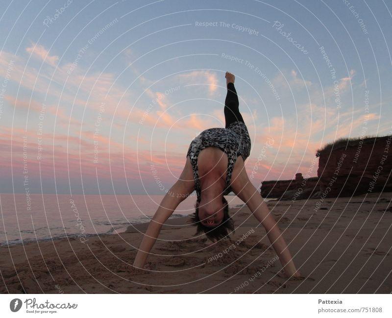 Sunset power Yoga Strand ästhetisch außergewöhnlich elegant frisch Gesundheit Unendlichkeit natürlich positiv Optimismus Erfolg Kraft Willensstärke Tatkraft